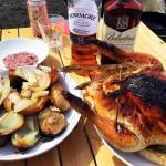 友人家族とBBQ!丸鶏のローストチキン(冷凍ピラフのスタッフドチキン)と牡蠣とウイスキー♪