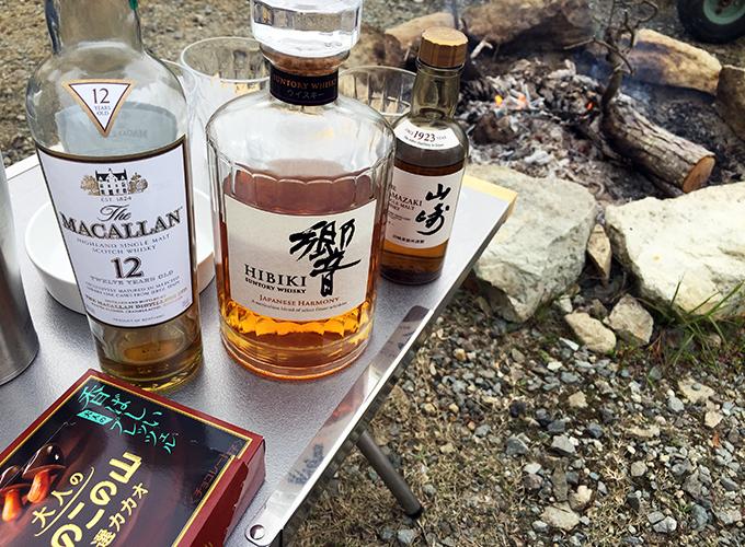 焚き火とウイスキー