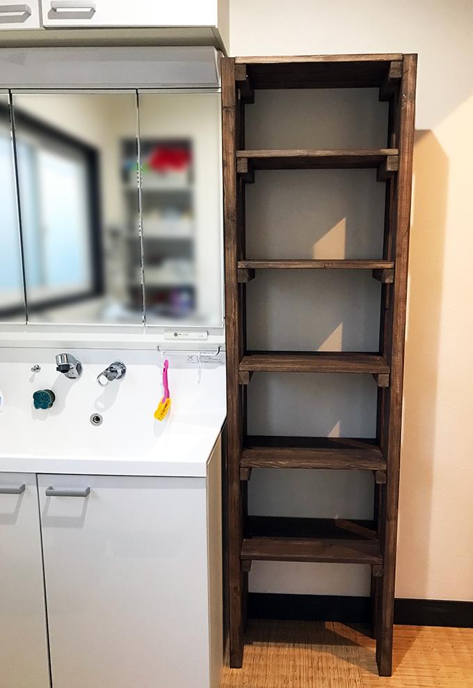 洗面所の収納棚をDIY